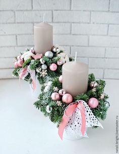 Купить Новогодняя композиция из живой хвои. Розовая - новогодняя композиция, новогодний сувенир, новогодний подарок