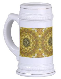 Golden Abstract Tile 72 Beer Stein | Independent Art Gifts By Blooming Vine Design