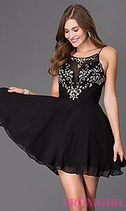 Buy Short  Spaghetti Strap Dress with Illusion Bodice at PromGirl