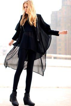#Romwe Asymmetric Spliced Zippered Black Jacket