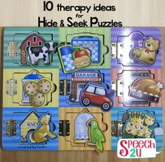 10 Ways to use Puzzles in Therapy - Speech Preschool Speech Therapy, Speech Language Therapy, Speech Pathology, Speech And Language, Language Activities, Learning Activities, Activities For Kids, Toddler Speech, Early Intervention