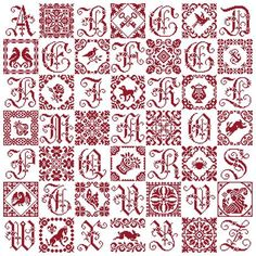 Patchwork Sampler with vintage red cross stitch alphabet and cross stitch blocks and figures Cross Stitch Sampler Patterns, Cross Stitch Samplers, Cross Stitch Designs, Cross Stitching, Blackwork Embroidery, Embroidery Sampler, Cross Stitch Embroidery, Cross Stitch Letters, Cross Stitch Bookmarks