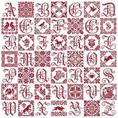 Patchwork Sampler kruissteek merklap. www.clorami-designs.be