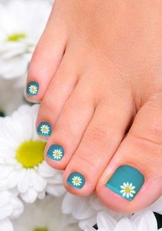 Blue with White Flowers Toenail Art Design
