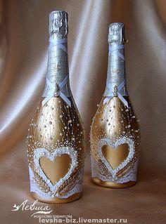 """Купить Украшение свадебных бутылок """"Богемия"""" - свадебные аксессуары, украшения с жемчугом, авторская ручная работа"""