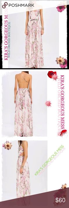 "BNWT FLORAL MAXI DRESS BNWT FLORAL MAXI DRESS;  100% polyester Backless, chiffon, straps crossed at the back Long, flowy, sundress, for summer, spring, fall, party, holiday, beach, etc Model: Height:5'8"", Bust:35"", Waist:24"", Hip:35"", Wearing:   Size S, wearing a pair of 4.5"" high heels. Wild Orchid Boutique Dresses Maxi"