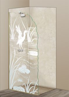 Shower Divider Panel featuring the Cranes A design in the 1D Positive Clear effect by Sans Soucie Art Glass. Design elements are sandblast etched on the top surface of smooth, clear glass, and are solid white shapes.  This effect is considered semi-private, as the clear glass background area of the glass, will vary by design.