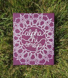 Sorority Canvas Purple and White Mandala by OhMyPoshCanvases