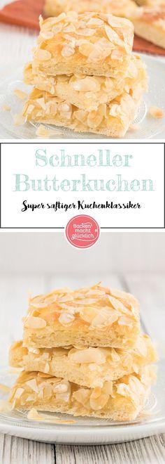 Tolles, einfaches Rezept für einen saftigen Butterkuchen mit Sahne und Mandeln. Der Zuckerkuchen besteht aus einem fluffigen Hefeteig mit einer leckeren knusprigen Zuckerkruste.