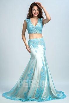 Elegant 2-Piece Meerjungfrau Blau Abendkleider-Persunkleid.de
