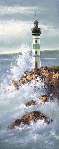 Burgy-Lighthouse-II-30x70-Wandbild-Leuchtturm-Meer-Kueste
