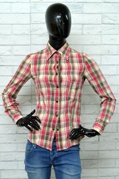 Casual Button-down Shirts Spirited Vintage America Flannel Button Up Long Sleeved Shirt Large