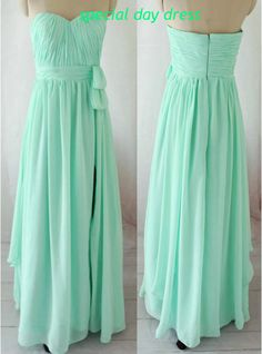 Bridesmaid dresses, long chiffon prom dress, green mint evening gown, formal dress with slit on Etsy, $108.00