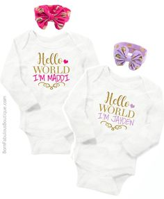 """Twins Clothes Baby Girl - Bodysuit """"Hello World"""" With Name"""