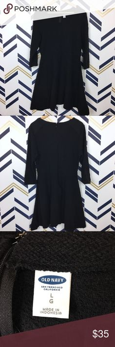 ee5c3f9dc Old Navy Black Fit & Flare Sweater Dress Old Navy Black Fit & Flare
