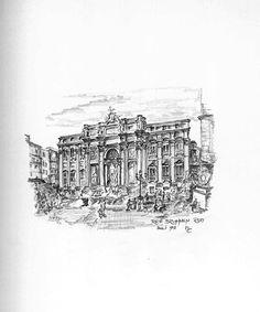 Trevi Brunnen Rom - Bleistiftzeichnung - Juli 95   ©Manfred Cremer, Bensberg, DE