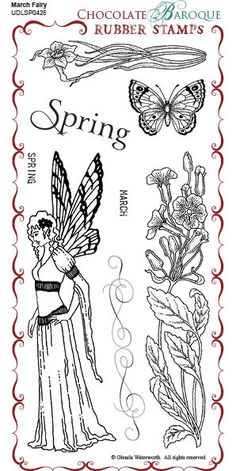 March Fairy Rubber Stamp sheet - DL - Chocolate Baroque