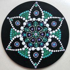 Tableau rond mandala dot peinture