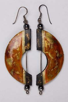 Like the shape - Lacquered Leather Earrings, LC1996_22 by Black Country Museums, via Flickr