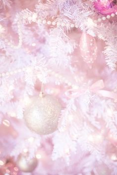 off the shoulder dress, white christmas tree, pastel christmas, pastel christmas decor, kate spade glitter heels, slmissglam makeup brushes, hair bow, pink ornaments, pearls