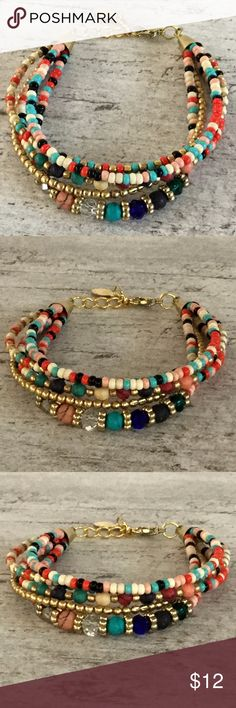 Boho Beaded Bracelet Boho beaded Bracelet Muli-colored mix of beads Adjustable clasp Brand new Jewelry Bracelets