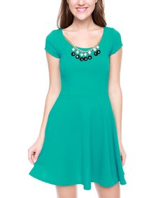 Look at this Jade Necklace Cap-Sleeve Dress on #zulily today!