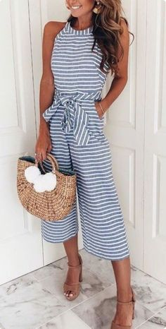 Blue and White Striped Jumpsuit! #jumpsuits #springoutfits #summeroutfits #jumpsuitstyle #beachyoutfits #vacationoutfits #classyoutfits #stripedoutfits