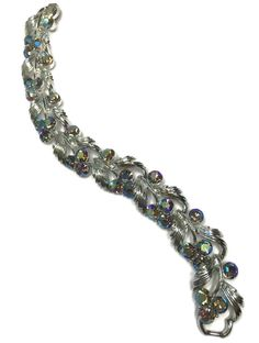 Lisner Rhinestone Champagne Topaz AB Bracelet Textured Silvertone Vintage Bling  #Lisner #Statement