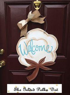 Cotton Door Hanger/Welcome Door Hanger/Fall by TheGildedPolkaDot