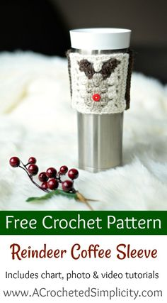 Free Crochet Pattern - Reindeer Coffee Cozy / Sleeve by A Crocheted Simplicity