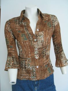 SERENADE Sere Nade Size PS Crinkle Blouse Shirt Tunic Brown Beige Green #SereNade #Blouse #Versatile