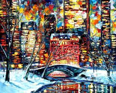 Snow in New York — PALETTE KNIFE Oil Painting On Canvas By Leonid Afremov #art #painting #fineart #modernart #canvas