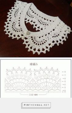 Crochet lace collar with chart