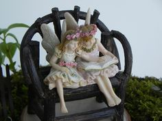 Fairy Garden Figurine Miniature Reading by TheLittleHedgerow