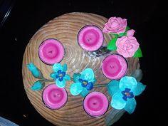 Décorations de plateau avec fleur en fimo