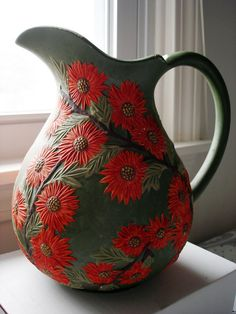 Vintage 1970s hand painted red sunflowers ceramic pitcher