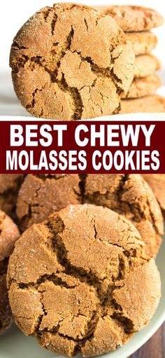Big soft Molasses Cookies made with all the warm spices we love this time of year! Cookie Desserts, Cookie Recipes, Baking Recipes, Dessert Recipes, Cookie Tray, Drink Recipes, Christmas Desserts, Christmas Baking, Molasses Recipes