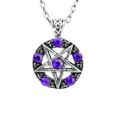 Dysfunctional Doll Ritual Inverted Pentagram Necklace with Purple Stones : Pendants & Necklaces