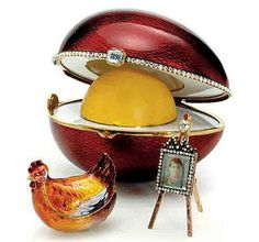 """Kelch The Hen Egg, gold, diamonds, enamel, 1898. Presented by the entrepreneur Alexander Kelch to his wife Barbara (Varvara) Kelch-Bazanova. Svyaz' Vremyon Fund - Viktor Vekselberg Collection - Moscow. There are seven """"Kelch Eggs"""" - all created by Michael Perkhin, second Head Workmaster of Fabergé."""