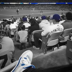 THINK BLUE: Good times at a @dodgers game last night with the @serena_devries @kyledevries12 and @loricomplex. #eventhoughtheylost #ladodgers #sneakerchoice #fortheday #jordan4 #jordan4militaryblue by mikedevries