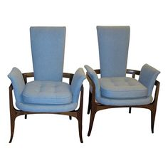 Stunning Pair of James Mont Chairs | Dove Blue Pair of Arm Chairs