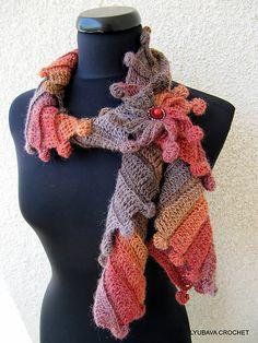 """Ravelry: Многоцветный шарф """"Фантазия"""" с 3D Tutorial Цветочный узор на Любава крючком"""