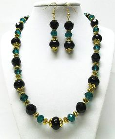 Black & Green Crystal Facetted Glass Bead Necklace & Earrings Set