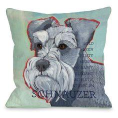 Schnauzer Dog Throw Pillow (16 x 16 Pillow), Blue (Polyester, Animal)