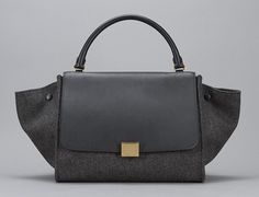 Celine // Black Leather + Grey Wool Trapeze Bag