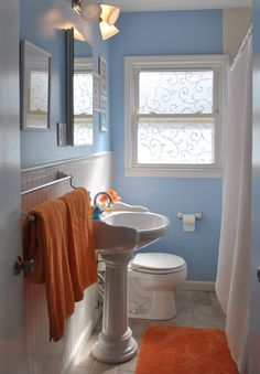 Unexpected color palettes turquoise teenager rooms and for Blue and orange bathroom