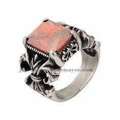 anillo con cristal rojo en acero inoxidable de color plateado-SSRGG19939