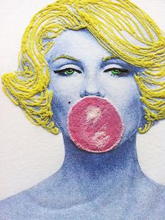 Marilyn Monroe Pink Bubble t-shirt  Painted 3d