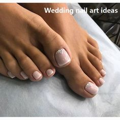 58 Nail Art Ideas You Can Make Page 15 of 58 Women's nails are always receiving varnishes of various colors and decorations of all styles. Decorated nails are still fashionable and every season new models come up to raze at all times. Bridal Toe Nails, Wedding Toe Nails, Simple Wedding Nails, Wedding Pedicure, Bridal Nail Art, Wedding Nails Design, Wedding Toes, Toe Nail Color, Toe Nail Art