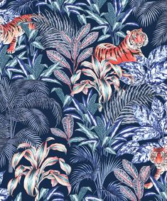 Draw Tigers Drawing - Sumatran Tiger, Blue by Jacqueline Colley - Tiger Wallpaper, Palm Wallpaper, Tropical Wallpaper, Wallpaper Samples, Animal Wallpaper, Flower Wallpaper, Bathroom Wallpaper, Wallpaper Roll, Atelier Theme